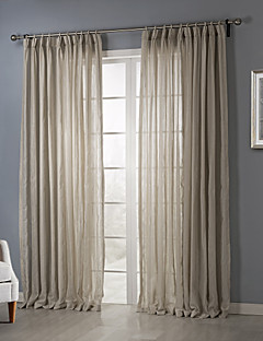 Country Two Panels Solid Beige Bedroom Sheer Curtains Shades
