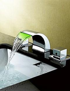 現代風 - LED / 滝状吐水タイプ - 真鍮 (クロム)