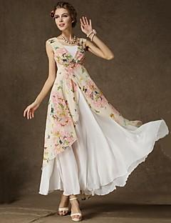 kvinders blomstret lyserød kjole, strand / print / maxi v hals ærmeløs lagdelt