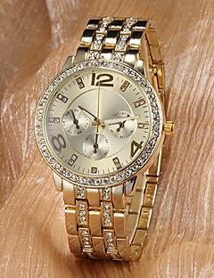 Heren Dames Uniseks Dress horloge Zakhorloge Polshorloge Japans Kwarts imitatie Diamond Legering Band Glitter Goud Goud