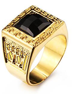 Pánské Prsteny s kamenem Barva ozdobného kamene Přírodní černá láska Přizpůsobeno bižuterie Nerez Akrylát Pozlacené 18K zlatá Square