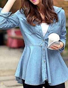 Women's Blue Polyester/Cotton Blends Jacket , Casual Long Sleeve