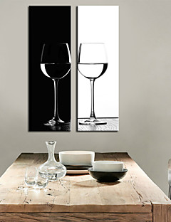 Stretched Art Canvas Still Life B & W Goblet Set di 2