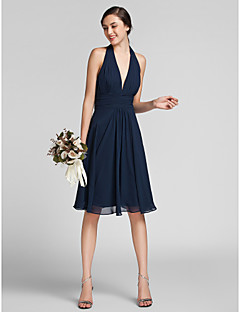 Lanting Bride® Knee-length Chiffon / Satin Bridesmaid Dress Sheath / Column Halter Plus Size / Petite with Draping / Ruching