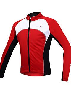 SANTIC サイクリングジャケット 男性用 長袖 バイク ジャケット ジャージー トップス 保温 防風 フリースライナーつき フロントファスナー スパンデックス フリース パッチワーク 秋 冬 サイクリング/バイク
