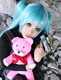 Perucas de Cosplay Fantasias Fantasias Azul Médio Anime Perucas de Cosplay 60 CM Fibra Resistente ao Calor Feminino