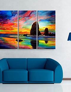 opgespannen doek zijt de kleur van de hemel decoratief schilderen set van 3