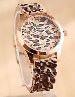 Damen Quartz Silikon Band Leopard Mehrfarbig Marke-