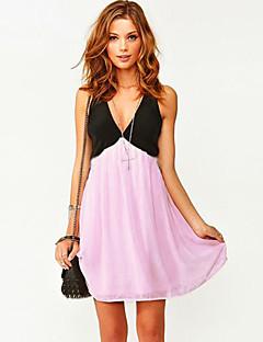 Dame kontrast farve v-hals mini kjole med åben ryg