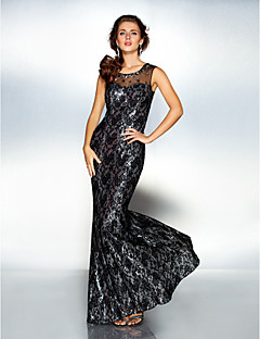 Military Ball / Formal Evening Dress - Black Plus Sizes / Petite Sheath/Column Scoop Floor-length Tulle / Sequined / Lace