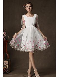 De aosishan vrouwen ronde hals westerse stijl jurk jurk