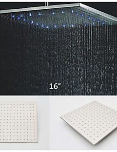 16 Inch Square Stainless Steel 304 Rainfall Shower Head With 3 Colors LED Temperature Sensitive Light