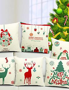 joyeux noël ensemble de 6 coton / lin taie d'oreiller décoratif