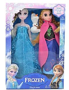 "Sparkle Princess Elsa and Anna Vocal Olaf Snowman Doll (2pcs 14"")"