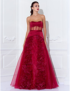 Prom / Formal Evening / Military Ball Dress - See Through Plus Size / Petite A-line / Princess Strapless Floor-length Organza / Satin with