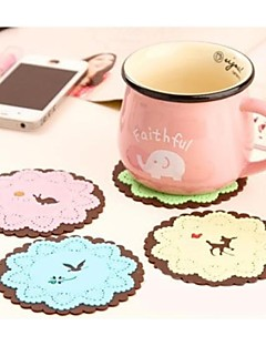 """Small Animal Flowers Silicone Cup Mat Heat Resistant to High Temperature Prevent Slippery 4""""x4""""x0.1""""(Color Random)"""