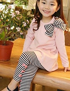 Girl's Stripes Bows Clothing Set, Blue Pink Long Sleeve Top And Leggings