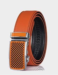 pánské originální kožený pásek oranžové automatickou přezkou cintos pásy