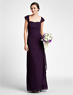 Sheath / Column Scalloped Floor Length Chiffon Bridesmaid Dress with Ruching Side Draping by LAN TING BRIDE®