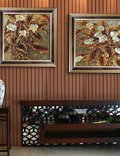 Blumenmuster/Botanisch Gerahmtes Leinenbild / Gerahmtes Set Wall Art,PVC Goldfarben Kein Passpartout Mit Feld Wall Art
