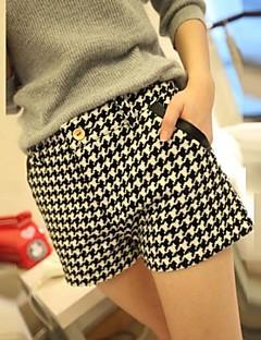 De Qi vrouwen check wol slanke korte broek