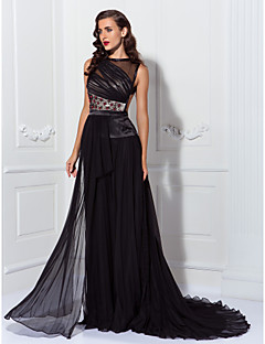 Formal Evening Dress - Black Plus Sizes Sheath/Column Jewel Asymmetrical Chiffon