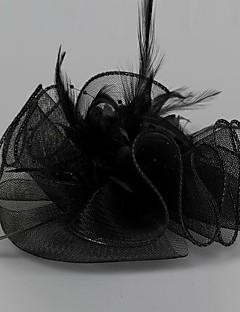 blomst-formet fjer maske broche / hårnåle sort (1 stk)