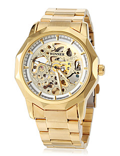 WINNER Men's Wrist watch Mechanical Watch Hollow Engraving Automatic self-winding Stainless Steel Band Butterfly Luxury Gold