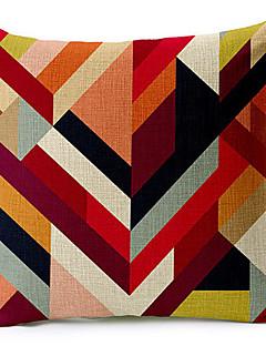 multicolore géométrique coton / lin taie d'oreiller décoratif