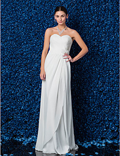 Lanting Bride® 시스 / 칼럼 퍼티트 / 플러스 사이즈 웨딩 드레스 바닥 길이 스윗하트 쉬폰 와