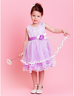 A-line/Princess Knee-length Flower Girl Dress - Tulle/Stretch Satin Sleeveless