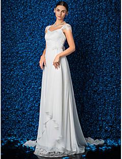 웨딩 드레스 - 아이보리(색상은 모니터에 따라 다를 수 있음) 시스/컬럼 쿼트 트레인 V 넥 쉬폰/레이스