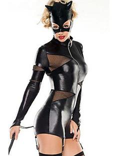 Cosplay Kostüme Uniformen Fest/Feiertage Halloween Kostüme Schwarz Kleid / Maske Halloween / Karneval Frau Chiffon / Polyurethan Leder