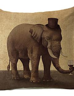 vive motif éléphant coton / lin taie d'oreiller décoratif