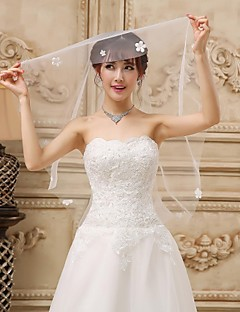 One-tier Fingertip Wedding Veil With Satin Flowers
