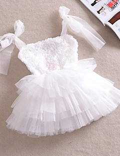 Girl's White Rose Flower Tutu Party Wedding Pageant Lovely Princess Dresses