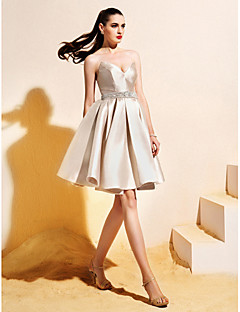 Homecoming TS Couture Cocktail Party Dress - Champagne Ball Gown V-neck Knee-length Satin
