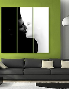 E-HOME® Stretched Canvas Art Kiss Decorative Painting  Set of 3