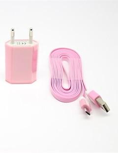 barvitý eu ac nabíječka s 2m plochou nudle micro USB Charge kabel pro Samsung S4 / S3 / s2 a další (různé barvy)