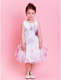 A-Lijn/Prinses Knie-Lengte Bloemenmeisje jurk - Organza Mouwloos