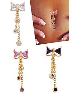 Γυναικεία Κοσμήματα Σώματος Navel & Bell Button Rings Ανοξείδωτο Ατσάλι Ζιρκονίτης Cubic Zirconia Μοναδικό Μοντέρνα ΚοσμήματαΛευκό