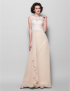 Lanting Sheath/Column Plus Sizes / Petite Mother of the Bride Dress - Champagne Floor-length Sleeveless Chiffon / Lace