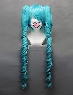 Perucas de Cosplay Vocaloid Hatsune Miku Azul Médio Anime/Games Perucas de Cosplay 68 CM Fibra Resistente ao Calor Feminino