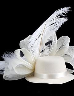 Dame Fjer / Stof Medaljon-Bryllup / Speciel Lejlighed Hatte
