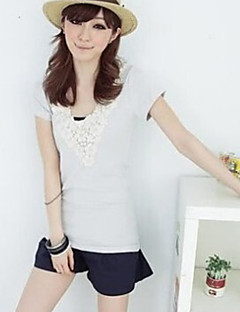 petalage-hals t-shirt lichtgrijs