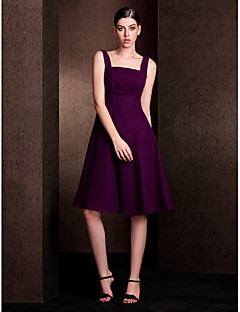 Lanting Bride® Knee-length Chiffon / Stretch Satin Bridesmaid Dress - A-line Square Plus Size / Petite with Draping