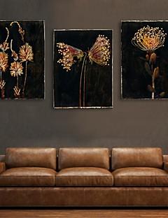 e-HOME estirada llevó la lona de arte de impresión efecto de flash flor del set de 3 llevó