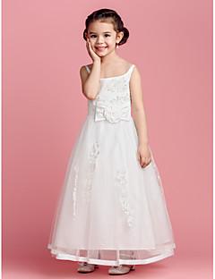 A-linja Satiini/Tylli Flower Girl Dress - Hihaton - Täysipitkä