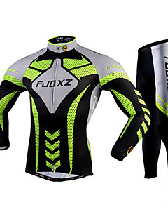 FJQXZ Cycling Jersey with Tights Men's Long Sleeve Bike Breathable Quick Dry Ultraviolet Resistant 3D PadJersey + Pants/Jersey+Tights