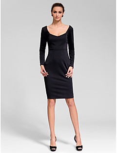 Cocktail Party Dress - Black Sheath/Column Scoop Knee-length Polyester